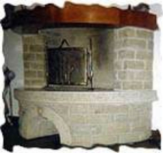 Fireplace with square-faced