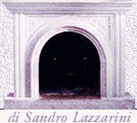 Fireplace with hand-chiseled strips and arc with high reliefs